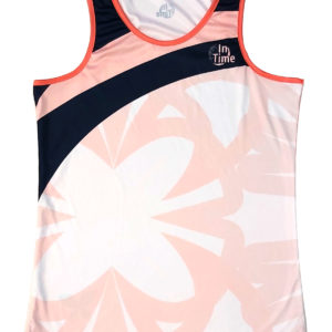 050101 – CAMISETA PÁDEL MUJER SIN MANGAS – BUTTERFLY WHITE & CORAL