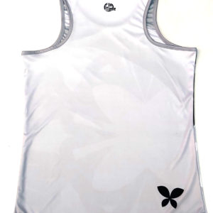 050101 – CAMISETA PÁDEL MUJER SIN MANGAS – BUTTERFLY WHITE & GREY
